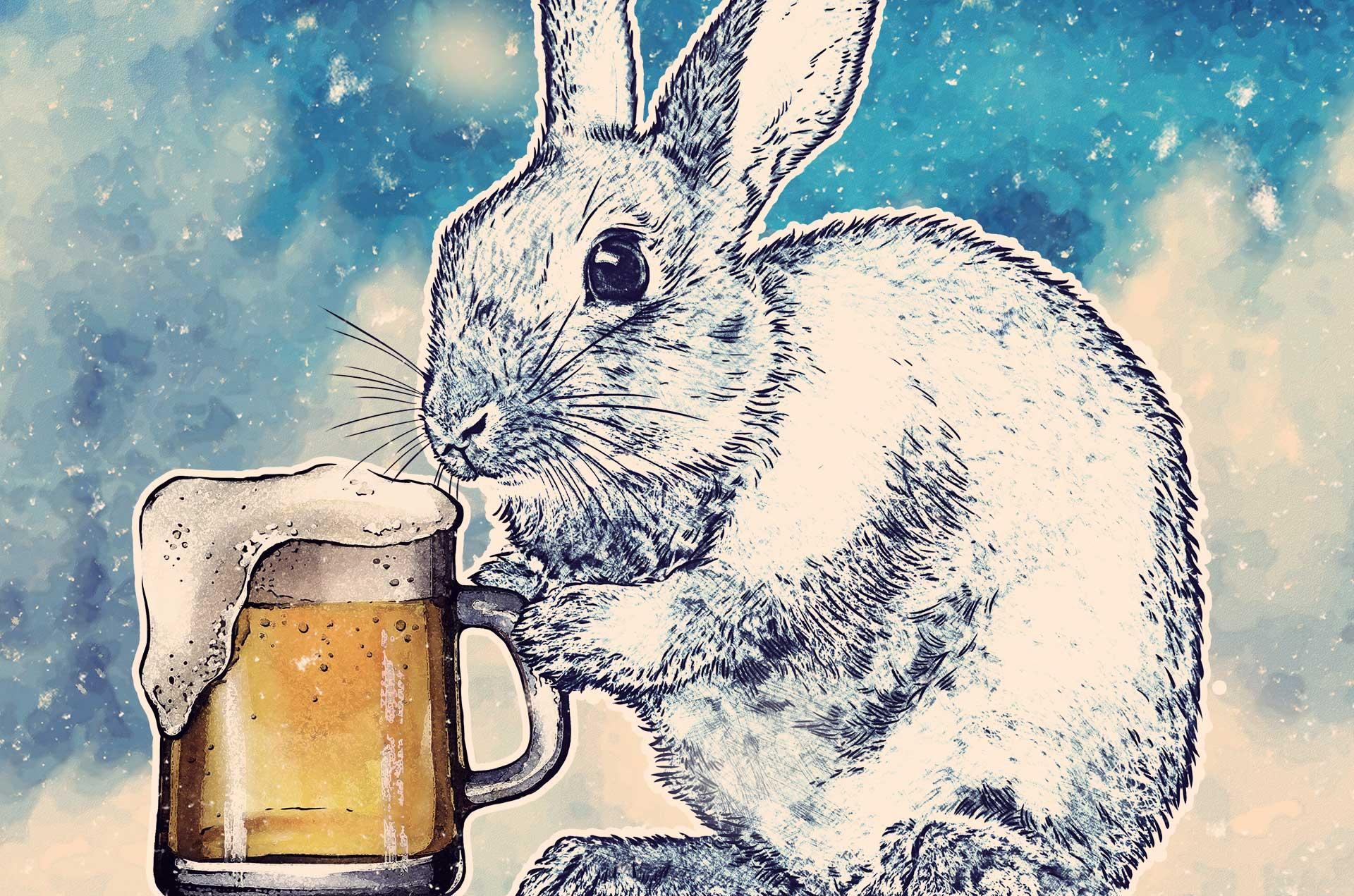 Komm trink mit mir Schneehas Bier